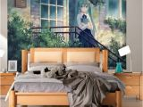 Back to the Wall Murals Hatsune Miku Wallpaper Anime Girls Wall Mural Custom 3d Wallpaper for Walls Vocaloid Bedroom Living Room Dormitory School Designer Hd A
