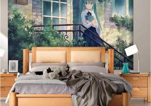 Back to the Wall Murals Hatsune Miku Wallpaper Anime Girls Wall Mural Custom 3d Wallpaper for Walls Vocaloid Bedroom Living Room Dormitory School Designer Hd A
