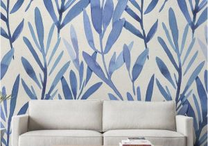 Back to the Wall Murals Wall Mural with Blue Watercolor Leaves Temporary Wall Mural