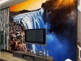 Backlit Wall Murals 3d Wall Mural Wallpaper Natural Landscape Big River Waterfalls