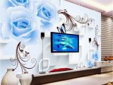 Backlit Wall Murals Beibehang Custom 3d Wallpaper Blue Rose Vine Landscape Art Mural