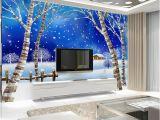 Backlit Wall Murals Home Decor Wall Papers 3d Cartoon Snow Village Wallpaper Mural