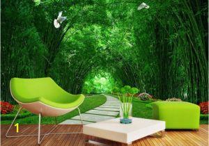 Bamboo Mural Walls Custom 3d Mural Wallpaper Bamboo forest Greenery Road 3d Landscape