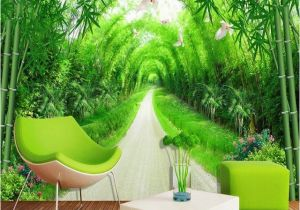 Bamboo Mural Walls Custom Any Size Mural Wallpaper 3d Stereo Fresh Green Bamboo forest