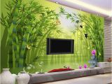 Bamboo Mural Walls Custom Mural Wallpaper Roll 3d Stereoscopic Green Bamboo forest Tv