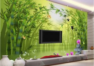 Bamboo Mural Walls Custom Mural Wallpaper Roll 3d Stereoscopic Green Bamboo forest Tv