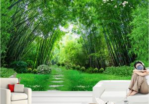Bamboo Mural Walls Custom Wall Paper 3d Green Bamboo forest Wall Painting