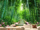 Bamboo Mural Walls Custom Wallpaper 3d Green forest Bamboo Nature Scenery Mural