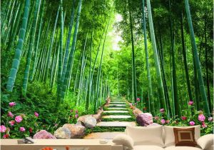 Bamboo Mural Walls Custom Wallpaper 3d Green forest Bamboo Nature Scenery Mural
