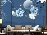 Bamboo Wall Decals Murals Beibehang Wallpaper Mural Chinese Style Bamboo Leaves Peony Flowers