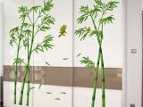 Bamboo Wall Decals Murals Shijuehezi] Green Bamboo Plant Birds Pastoral Style Wall Sticker for