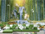 Bamboo Wall Mural Wallpaper Custom 3d Wall Murals Wallpaper Wall Painting Stereoscopic Zhulin Waterfall Water Park 3d Living Room Tv Backdrop Mural Pc Wallpaper Pc Wallpaper In