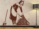 Banksy Wall Mural Wallpaper Banksy Maid Wall Sticker Home Decor Street Art Vinyl Stencil Graffiti Cleaning Lady Decals House Decoration Free Shipping