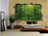 Bar Scene Wall Murals Wall26 Tropical Rain forest Viewed Through A Broken Wall