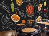 Bar themed Wall Murals Custom 3d Photo Wallpaper Blackboard Graffiti Food Mural