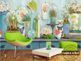 Bar themed Wall Murals Custom 3d Vintage Floral Wallpaper Mural Daffodils In Vase