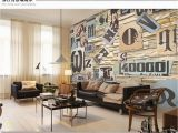 Bar themed Wall Murals Customized Black White Fashion 3d Letter Art Brick Wallpaper