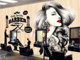 Barber Shop Wall Murals Beibehang Custom Wallpaper Hairdressing Salon Hair Wall Barber Shop