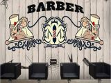 Barber Shop Wall Murals Customized European 3d Large Creative Concrete Wall Hand Painted