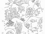 Barrier Reef Coloring Pages Coloring Book Page Black and Wight Ocean Bottom with Sea