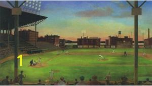 Baseball Diamond Wall Mural York Kids Iv Under the Lights Green Mural Wallpaper