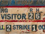 Baseball Scoreboard Wall Mural Vintage Baseball Scoreboard Cream & Navy