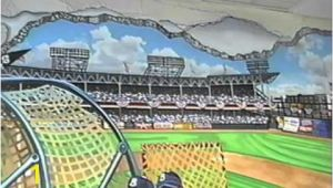 Baseball Stadium Wall Mural Hand Painted Wall Mural Ebbets Baseball Field by Muralist Bonnie
