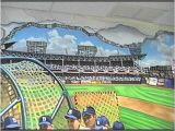 Baseball Stadium Wallpaper Murals Hand Painted Wall Mural Ebbets Baseball Field by Muralist Bonnie