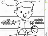Basketball Player Coloring Pages Little Boy Playing Basketball Coloring Page Stock Illustration