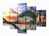 Bass Fishing Wall Murals Bass Fishing Dream 5 Piece Wall Art Canvas