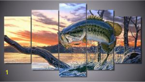 Bass Fishing Wall Murals Bass Fishing Dream 5 Piece Wall Art Canvas