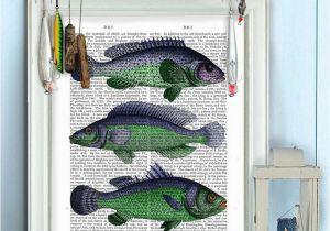 Bass Fishing Wall Murals Lake House Decor Green & Blue Fantasy Fish Trio Fish Art Fishermans T Fishing Decor Kitchen Wall Decor Kitchen Sign Restaurant Sign