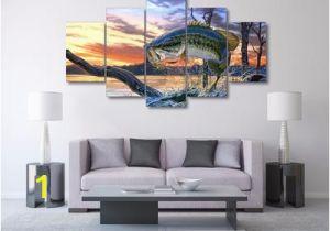 Bass Fishing Wall Murals Lion Color 5 Piece Wall Art Canvas