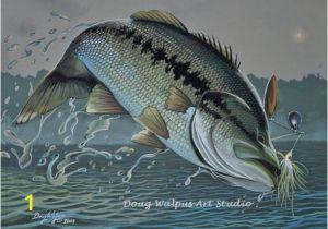 Bass Fishing Wall Murals original Mouth Bass Painting by Doug Walpus Freshwater