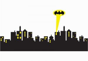 Batman Cityscape Wall Mural 5 Sizes Gotham City Skyline Batman Decal Removable Wall Sticker