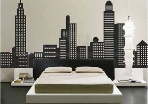 Batman Cityscape Wall Mural City Skyline Decal City Buildings Skyline Vinyl by Stunningwalls