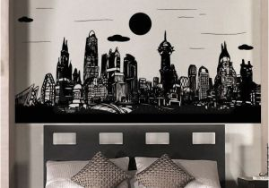 Batman Cityscape Wall Mural Gotham City Batman Skyline City Buildings Superhero Boysroomidea