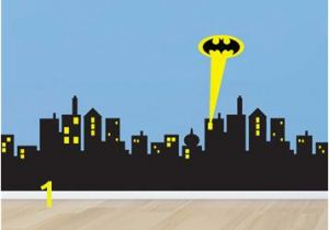 Batman Cityscape Wall Mural Poomoo Wall Decals 5 Sizes Gotham City Skyline Batman Decal