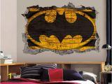 Batman Wall Mural Decal Batman Logo Wall Art Decal 3d Smashed Wood Textured Vinyl Wall Decor