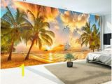 Beach Hut Wall Mural Custom Wall Mural Non Woven Wallpaper Beach Sunset Coconut Tree Nature Landscape Backdrop Wallpapers for Living Room