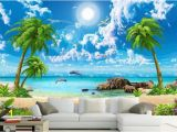 Beach Murals Cheap 3d Wall Murals Wallpaper Custom 3d Photo Sea Coconut Beach Wallpaper