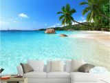 Beach Murals Cheap Custom 3d Wallpaper Seascape Beach Palm Wall Covering Mural