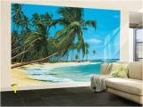 Beach Murals Cheap south Sea Blue Beach Landscape Wall Mural Wallpaper Mural 144 X