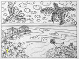 Beach Scene Coloring Pages for Adults Tropical Beach Vacation Adult Coloring Page by