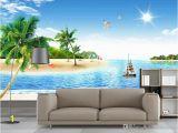 Beach Scene Murals Walls 3d Wallpaper Custom Non Woven Mural Coconut Palm Beach Scenery Decoration Painting 3d Wall Murals Wallpaper for Walls 3 D Hd Wallpaper A Hd