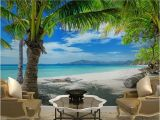 Beach Scene Wallpaper Murals Home Decor Wall Papers 3d Tropical Beach Palm Tree Wallpaper