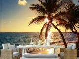 Beach Sunset Wall Mural Custom 3d Mural Wallpaper Beach Sunset Coconut Palm Seaside Landscape Wall Painting Restaurant Cafe Home Decor Wall Papers Wallpaper Desk