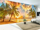 Beach Sunset Wall Mural Custom Wall Mural Non Woven Wallpaper Beach Sunset Coconut Tree Nature Landscape Backdrop Wallpapers for Living Room Wallpapers Free Hd