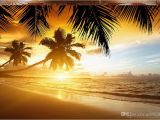 Beach Sunset Wall Mural High Quality Custom 3d Wallpaper Murals Wall Paper Sunset Coconut Beach Scenery Murals Tv Background Wall Decor Room Wallpaper Animated