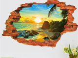 Beach theme Wall Mural 3d Broken Wall Decal Sunset Scenery Seascape island Coconut Trees Household Adornment Can Remove the Wall Stickers Wall Sticker Decor Wall Sticker